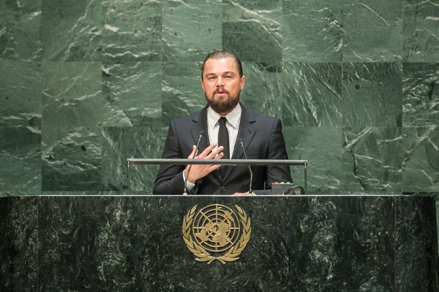 Leonardo DiCaprio, Actor and UN Messenger of Peace, addresses the opening of the Climate Summit 2014.
